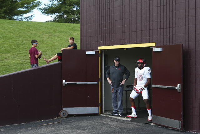 UNLV wide receiver Darren Woods Jr. (10) prepares to take the field to warm up before playing against Central Michigan in a football game at Kelly/Shorts Stadium in Mount Pleasant, Mich. on Saturd ...