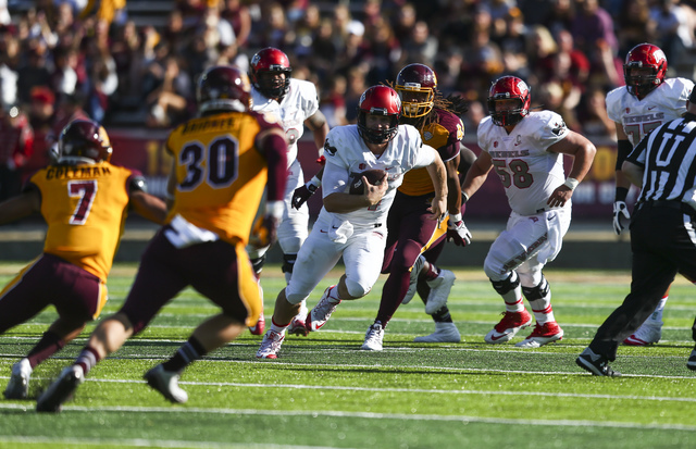 UNLV quarterback Johnny Stanton (4) runs the ball against Central Michigan during a football game at Kelly/Shorts Stadium in Mount Pleasant, Mich. on Saturday, Sept. 17, 2016. Chase Stevens/Las Ve ...