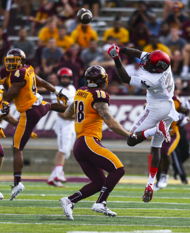 UNLV wide receiver Mekhi Stevenson (2) comes up short on a pass that was intercepted by Central Michigan defensive back Sean Bunting (27), not pictured, during a football game at Kelly/Shorts Stad ...