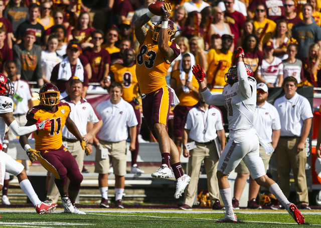 Central Michigan defensive back Sean Bunting (27) catches a pass during a football game against UNLV at Kelly/Shorts Stadium in Mount Pleasant, Mich. on Saturday, Sept. 17, 2016. Central Michigan  ...