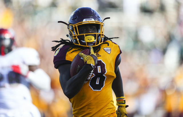 Central Michigan wide receiver Corey Willis (8) approaches the end zone to score a touchdown against UNLV during a football game at Kelly/Shorts Stadium in Mount Pleasant, Mich. on Saturday, Sept. ...