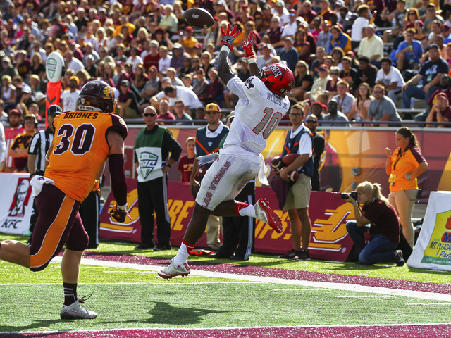UNLV wide receiver Darren Woods Jr. (10) receives a pass to make a touchdown against Central Michigan during a football game at Kelly/Shorts Stadium in Mount Pleasant, Mich. on Saturday, Sept. 17, ...
