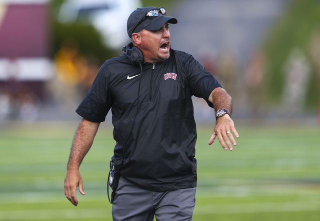 UNLV head coach Tony Sanchez  reacts during a football game against Central Michigan at Kelly/Shorts Stadium in Mount Pleasant, Mich. on Saturday, Sept. 17, 2016. Central Michigan won 44-21. Chase ...