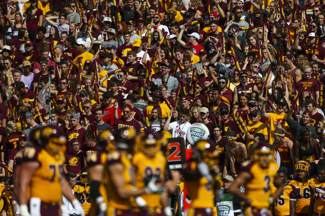 Central Michigan fans react to a call during a football game against UNLV at Kelly/Shorts Stadium in Mount Pleasant, Mich. on Saturday, Sept. 17, 2016. Central Michigan won 44-21. Chase Stevens/La ...