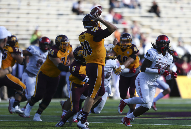 Central Michigan quarterback Cooper Rush (10) throws a pass while playing UNLV during a football game at Kelly/Shorts Stadium in Mount Pleasant, Mich. on Saturday, Sept. 17, 2016. Central Michigan ...