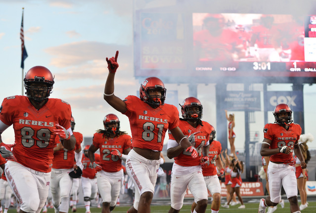 UNLV Rebels wide receiver Andre Collins Jr. (81) and teammates take the field before the UNLV Jackson State football game in Las Vegas on Thursday, Sept. 1, 2016. Brett Le Blanc/Las Vegas Review-J ...