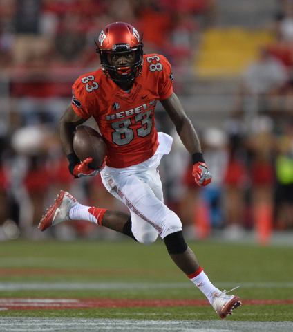 UNLV Rebels wide receiver Devonte Boyd (83) breaks free for a 56-yard touchdown against Jackson State in the first quarter during the UNLV Jackson State football game in Las Vegas on Thursday, Sep ...