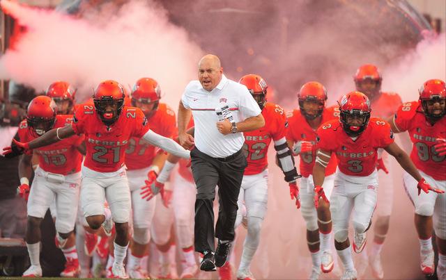 UNLV Rebels head coach Tony Sanchez leads his team onto the field before the UNLV Jackson State football game in Las Vegas on Thursday, Sept. 1, 2016. Brett Le Blanc/Las Vegas Review-Journal Follo ...