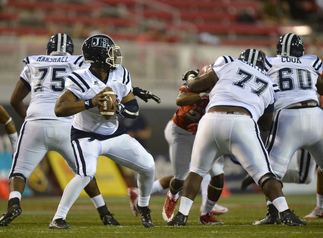 Jackson State Tigers quarterback LaMontiez Ivy (9) looks down field in the first half during the UNLV Jackson State football game in Las Vegas on Thursday, Sept. 1, 2016. Brett Le Blanc/Las Vegas  ...