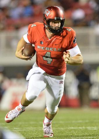 UNLV Rebels quarterback Johnny Stanton (4) rushes downfield in the first quarter during the UNLV Jackson State football game in Las Vegas on Thursday, Sept. 1, 2016. Brett Le Blanc/Las Vegas Revie ...