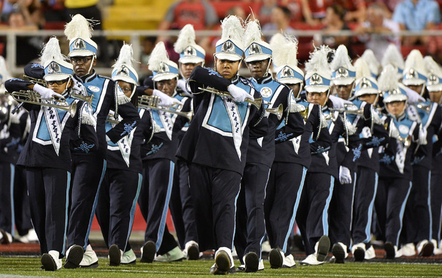 The Jackson State marching band performs during halftime of the UNLV Jackson State football game in Las Vegas on Thursday, Sept. 1, 2016. Brett Le Blanc/Las Vegas Review-Journal Follow @bleblancphoto