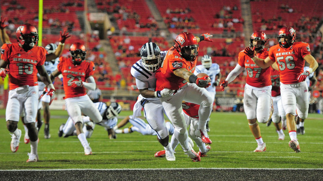 UNLV Rebels defensive lineman Nick Dehdashtian (98) recovers a fumble for touchdown in the third quarter during the UNLV Jackson State football game in Las Vegas on Thursday, Sept. 1, 2016. Brett  ...
