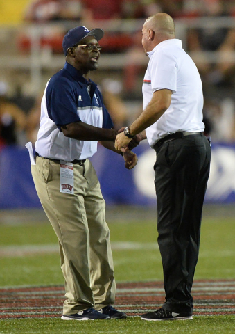 UNLV Rebels head coach Tony Sanchez shakes hands with Jackson State Tigers head coach Harold Jackson after the UNLV Jackson State football game in Las Vegas on Thursday, Sept. 1, 2016. Brett Le Bl ...