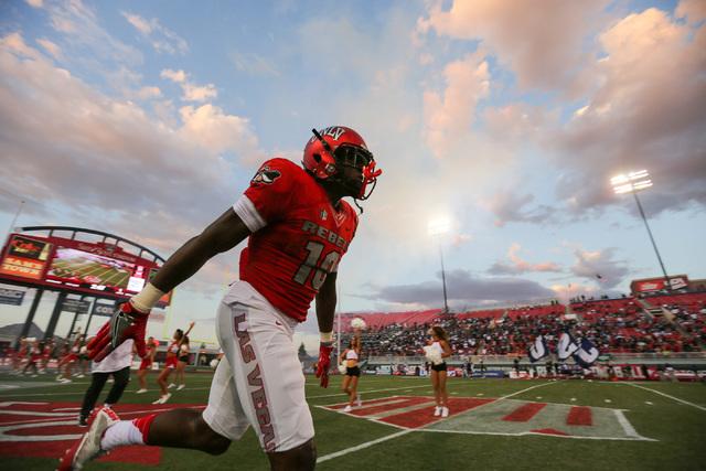 UNLV Rebels wide receiver Darren Woods Jr. (10) runs onto the field before the UNLV Jackson State football game in Las Vegas on Thursday, Sept. 1, 2016. Brett Le Blanc/Las Vegas Review-Journal Fol ...