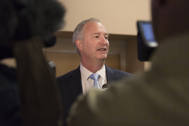 Southern Nevada Tourism Infrastructure committee chairman Steve Hill speaks with news media following a Southern Nevada Tourism Infrastructure committee meeting at UNLV in Las Vegas to discuss the ...