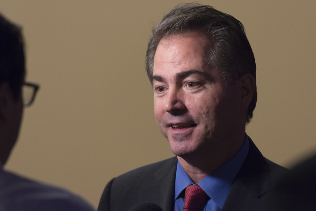 Southern Nevada Tourism Infrastructure vice chairman and president of UNLV, Len Jessup, speaks with news media following a Southern Nevada Tourism Infrastructure committee meeting at UNLV in Las V ...