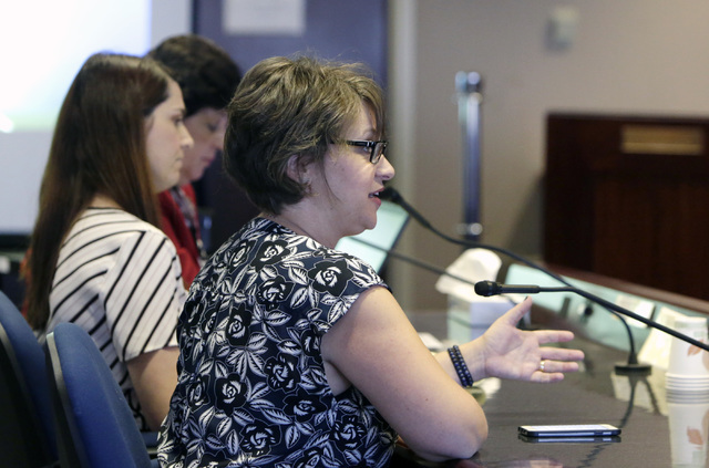 Caryne Shea, right, of Honoring Our Public Education testifies before the Legislative Commission on Friday, Sept. 9, 2016, at Grant Sawyer state office building in Las Vegas. (Bizuayehu Tesfaye/La ...
