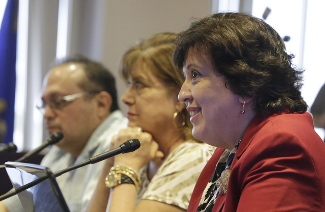 Sylvia Lazos, policy director of Educate Nevada Now, right, testifies before the Legislative Commission on Friday, Sept. 9, 2016, at Grant Sawyer state office building in Las Vegas. (Bizuayehu Tes ...