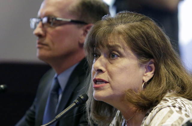 Lisa Mayo-DeRiso of Break Free Clark County School District and parent of two Bonanza High School students, testifies before the Legislative Commission on Friday, Sept. 9, 2016, at Grant Sawyer st ...