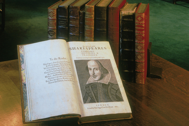 The title page of the First Folio, on display at the Folger Shakespeare Library in Washington, D.C., which is presenting the nationwide tour of the 1623 volume. (Folger Shakespeare Library)