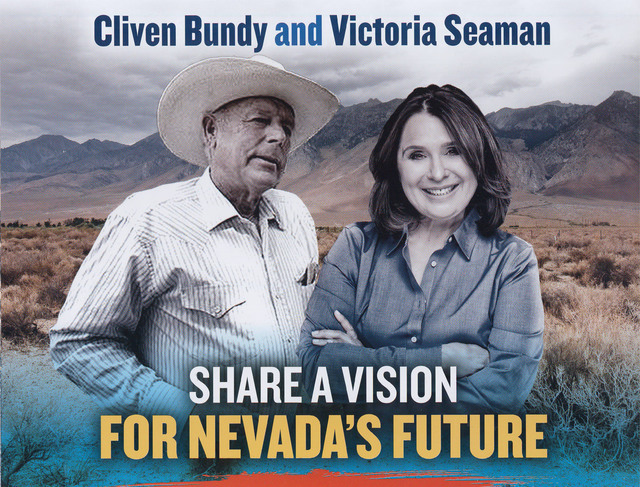 A flier paid for by the state Democratic Party linking Assemblywoman Victoria Seaman, a Republican candidate in Senate District 6, to Bunkerville rancher Cliven Bundy.