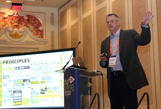 Brad Barnes, director of consulting and industry programs at the Culinary Institute of America, speaks during Global Gaming Expo Tuesday, Sept. 27, 2016, at the Sands Expo and Convention Center. B ...