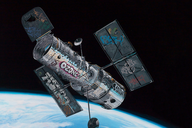 "Artist Josh Keyes takes graffiti into space in ""Frontier,"" featured in Life Is Beautiful's ""Crime on Canvas"" art exhibit. COURTESY LIFE IS BEAUTIFUL"