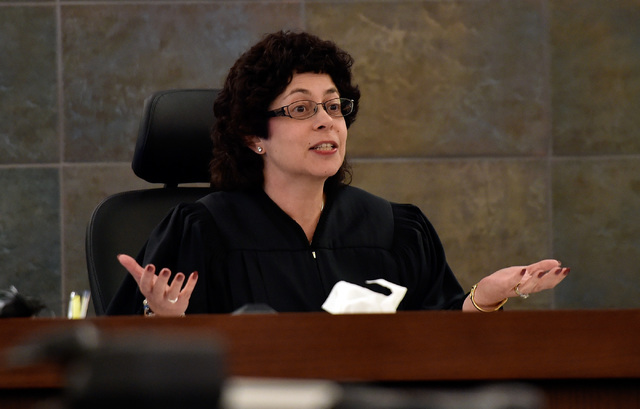 District Judge Elissa Cadish speaks in court Friday at the Regional Justice Center in Las Vegas. (David Becker/Las Vegas Review-Journal) Follow @davidjaybecker