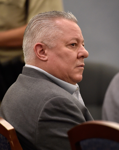 David Frostick looks on in court at the Regional Justice Center Friday, Sept. 16, 2016, in Las Vegas. Frostick was sentenced to 20 years to life in prison for the murder of his fiancee in 2009. (D ...