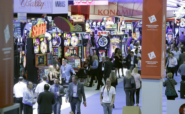 Expo-goers browse booths during the Global Gaming Expo Tuesday, Sept. 27, 2016, at the Sands Expo and Convention Center in Las Vegas. Bizuayehu Tesfaye/Las Vegas Review-Journal Follow @bizutesfaye