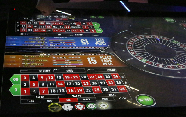 A new digital roulette table is seen at Scientific Game booth during the Global Gaming Expo, Tuesday, Sept. 27, 2016, at the Sands Expo and Convention Center in Las Vegas. Bizuayehu Tesfaye/Las Ve ...