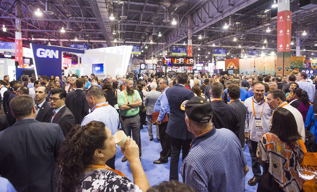 People walk into Global Gaming Expo at the Las Vegas Sands Expo and Convention Center on Tuesday , Sept. 27, 2016. Jeff Scheid/Las Vegas Review-Journal Follow @jeffscheid