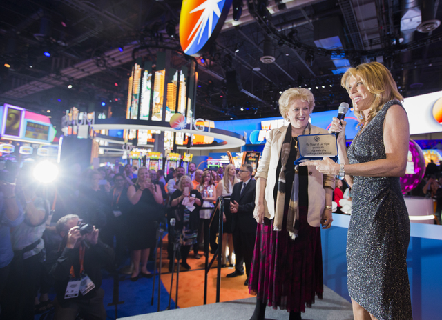 Las Vegas Mayor Carolyn Goodman, left, presents entertainer Vanna White with the key to the city during Global Gaming Expo at the Las Vegas Sands Expo and Convention Center on Tuesday , Sept. 27,  ...