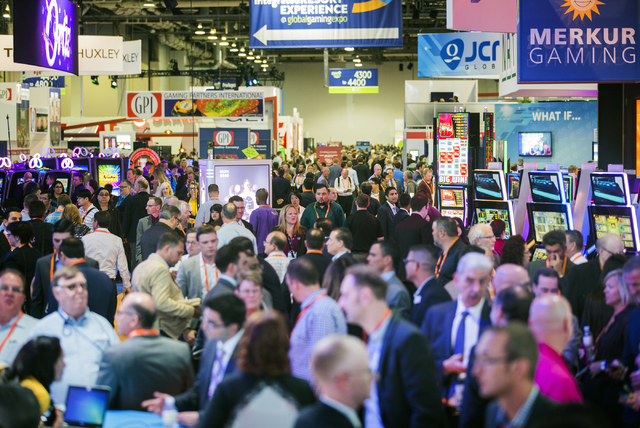 Thousands of people look at the latest gaming technology during Global Gaming Expo at the Las Vegas Sands Expo and Convention Center on Tuesday , Sept. 27, 2016. Jeff Scheid/Las Vegas Review-Journ ...
