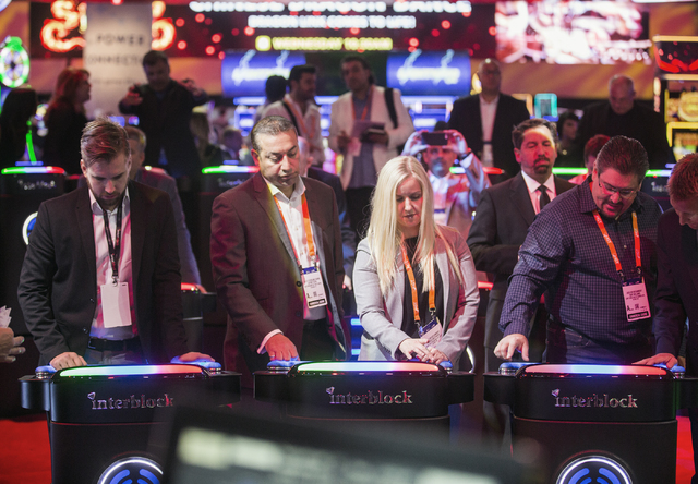 Gaming executives play video games in the Interblock Pulse Arena during Global Gaming Expo at the Las Vegas Sands Expo and Convention Center on Tuesday, Sept. 27, 2016. Jeff Scheid/Las Vegas Revie ...