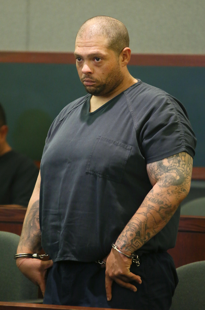 Pedro Jose Garcia, 34, appears before Las Vegas Justice of the Peace Pro Tem Telia Williams at the Regional Justice Center Friday, Sept. 30, 2016, in Las Vegas. Garcia is charged in the shooting d ...