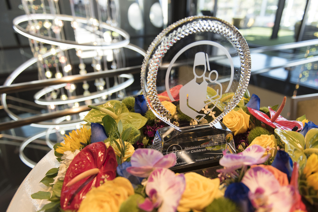A trophy for the Shriners Hospitals for Children Open sits on a table during a media day for the tournament in Las Vegas, Monday, Sept. 26, 2016. The tournament takes place Oct. 31 through Nov. 6  ...