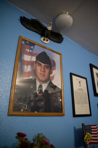 """A photo of Marina Vance's son, the late Spc. Ignacio """"Nacho"""" Ramirez, hangs in a special room in her home in Henderson May 14. Daniel Clark/View"""