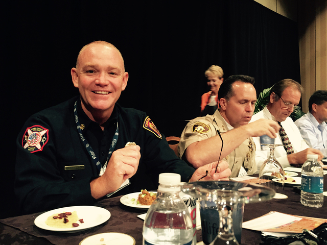 Clark County Fire Chief Greg Cassell smiles during the Emergency Preparedness Kit Cook-Off Sept. 15, in which the county won first place. The annual event is held in September as part of National  ...