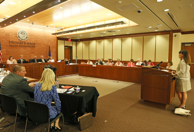 Attorney Dara Goldsmith, right, speaks to a Nevada Supreme Court commission studying the state's guardianship system during a meeting.  (Ronda Churchill/Las Vegas Review-Journal)