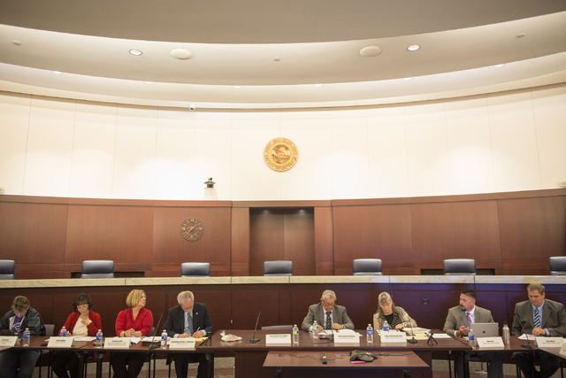 The Nevada Supreme court panel to discuss how to fix the state's guardianship system meets at the Regional Justice Center in Las Vegas on Friday, April 1, 2016. This was one of the final meetings  ...