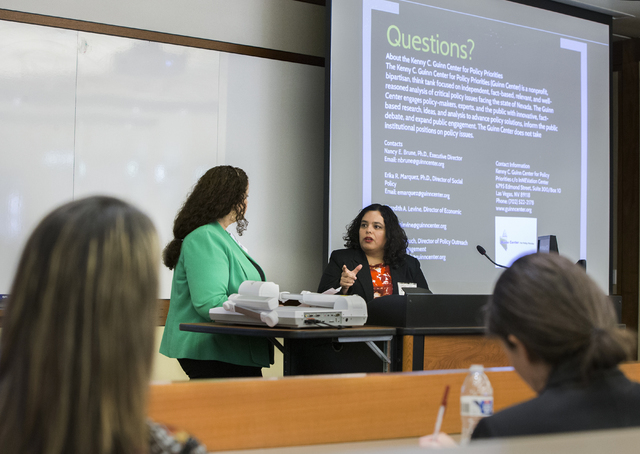 Dr. Erika Marquez, right, director of social policy for the Kenny Guinn Center for Policy Priorities, speaks at a gun reform presentation at the William S. Boyd School of Law at UNLV on Wednesday, ...