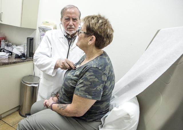 Dr James Gabroy listens to patients  Patricia McCarley heart on Wednesday, Aug. 31, 2016.  (Jeff Scheid/Las Vegas Review-Journal) Follow @jeffscheid