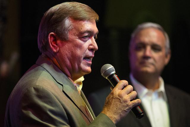 U.S. Rep. Cresent Hardy, R-Nev., speaks during a Nevada Republican Men's Club event at the Bootlegger Italian Bistro restaurant on Friday, Aug. 5, 2016, in Las Vegas. (Erik Verduzco/Las Vegas Revi ...