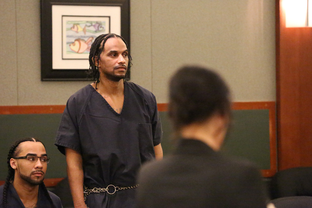 Corry Hawkins, who pleaded guilty to first-degree murder in the slaying of Nellis airman Nathan Paet. appears for sentencing before Judge Douglas Herndon at the Regional Justice Center on Tuesday, ...