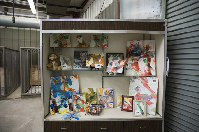 Paintings by Ozzie the giraffe are sold inside the gift shop at the Lion Habitat Ranch in Henderson on Wednesday, Sept. 7, 2016, in Las Vegas. Erik Verduzco/Las Vegas Review-Journal Follow @Erik_V ...