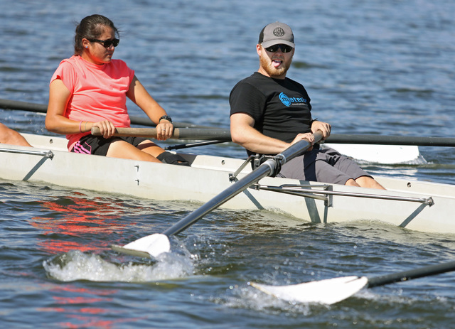 Daniel Chapman, right, and Melissa Rangel row during a Learn to Row class at Lake Las Vegas Sept. 17. Ronda Churchill/View