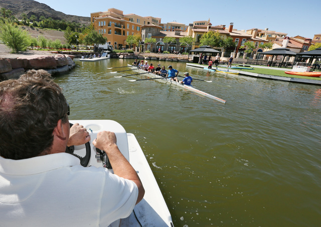 Jim Andersen, left, watches crew members rowing during a Learn to Row class at Lake Las Vegas Sept. 17. Ronda Churchill/View