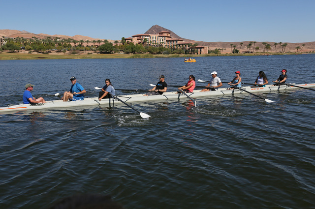 Coxswain Aaron Hastings, far left, shouts during a Learn to Row class at Lake Las Vegas Sept. 17. Ronda Churchill/View