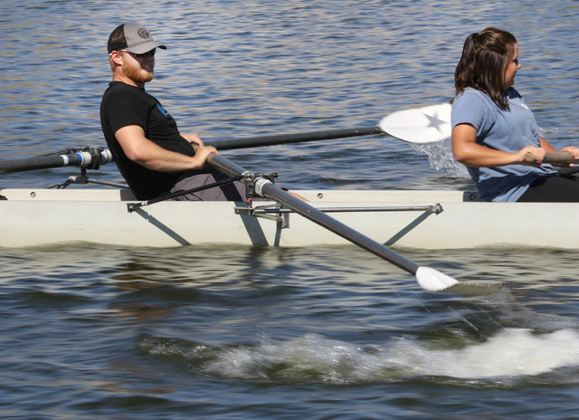 Daniel Chapman, left, and Taylor Gangi row during a Learn to Row class at Lake Las Vegas Sept. 17. Ronda Churchill/View